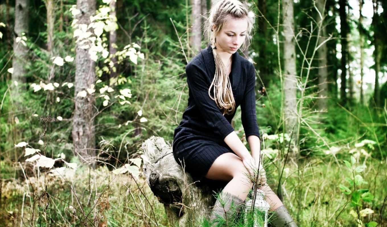 black, white, woods,