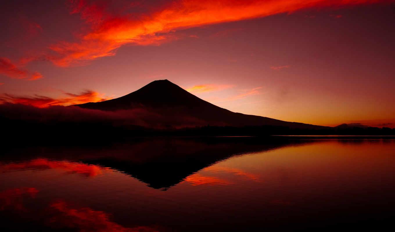 япония, фудзи, гора, вулкан, фуджи, озеро,