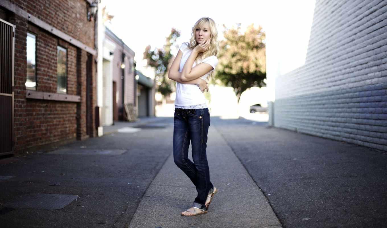 джинсы, девушка, blonde, модель, улица, ipad,