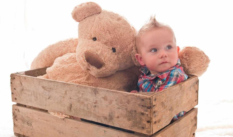ребёнок, медведь, плюшевый, ящик