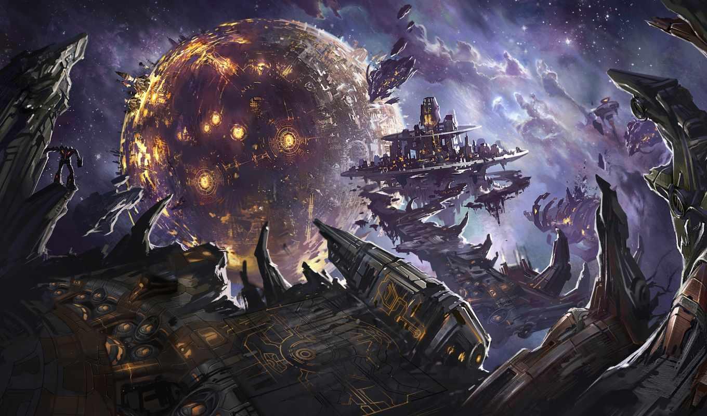 планета, cybertron, битва, за, трансформеры, роботы, war, взрывы, transformers, кибертрон, картинка, игры, космос, фантастика, руины,