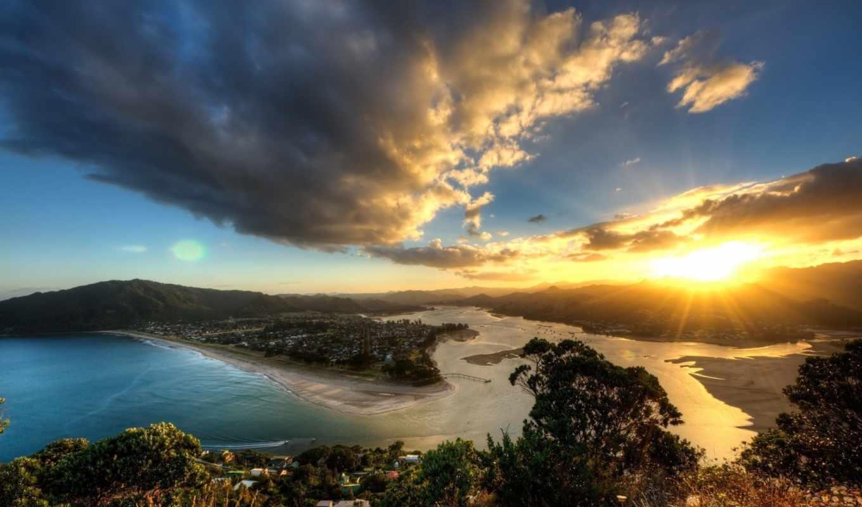 закат, пейзаж, new, zealand, солнце, облака, небо, природа, paku, вода, горы, tairua, mount, картинка, fonds, картинку, ecran, побережье, высота, новая,