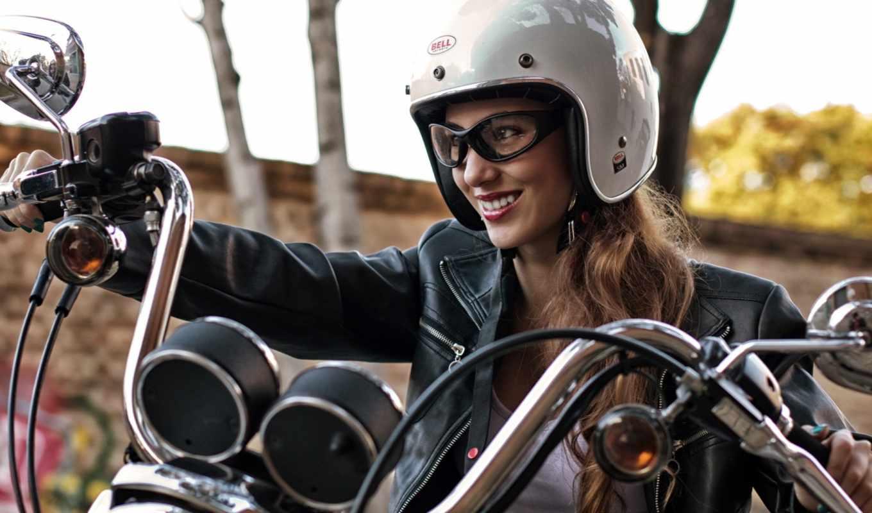 радость, девушка, мотоцикл, шлем, очки, косуха