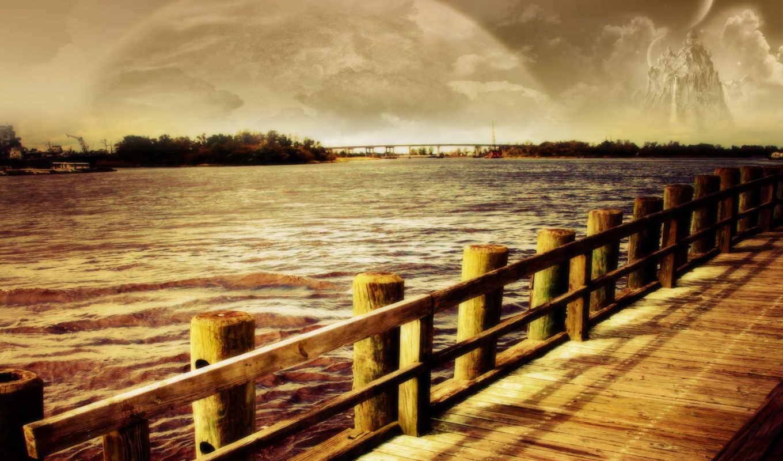 dreamy, landscape, июня, фантастика, море, луна, photoshop, world, digital,