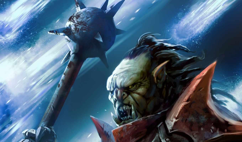 orc, art, клыки, оружие, fantasy, mace, взгляд, существо,