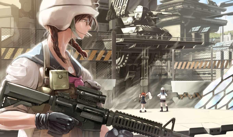 форма, devushki, военная, art, шлем, база, машина, очки,