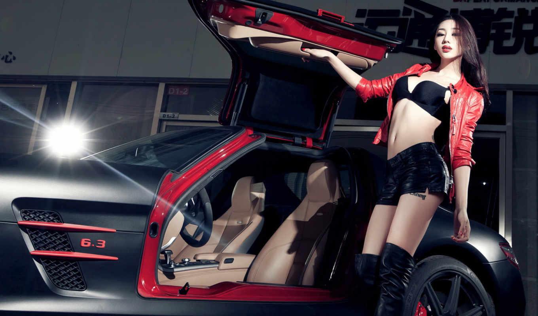 ,девушка,спорткар,красный,машина,