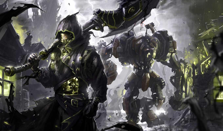 fantasy, роботы, robot, киборги, машины, плащ, капюшон, воин, деревня, стимпанк,
