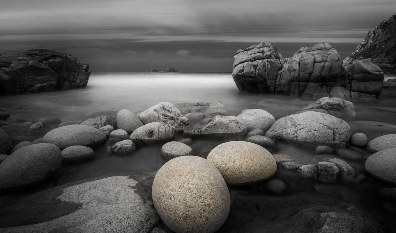 тучи, небо, pictures, море, only, камни,