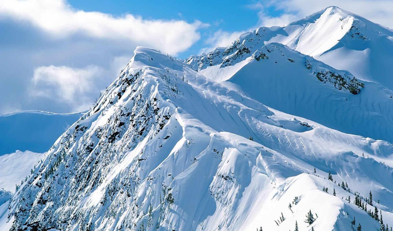 горы, гор, под, winter, река, подножья, снежные,