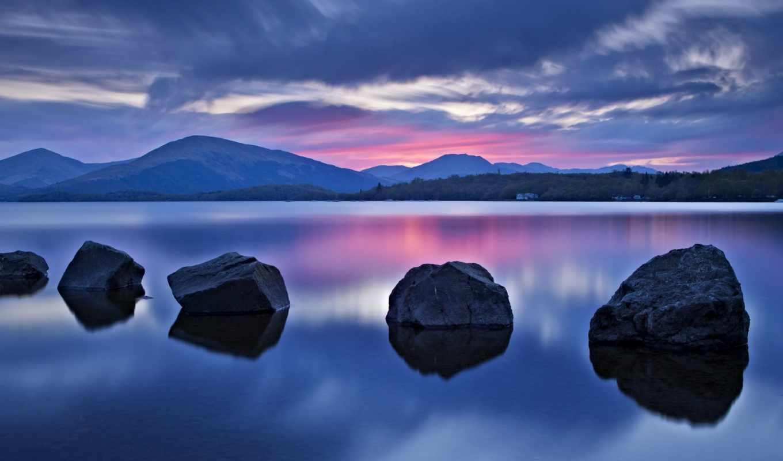 loch, озеро, ломонд, шотландия, scotia, горы,