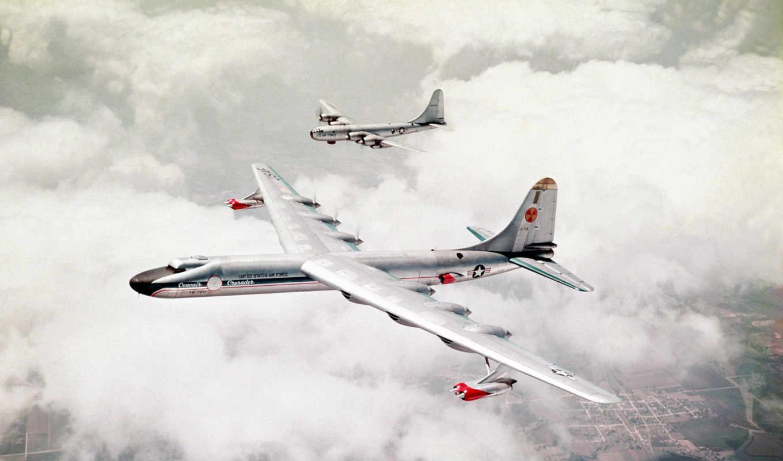nb, convair, небо, aircraft, земля, два, самолета, usaf, бомбардировщики,