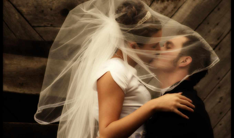 он и она, свадьба, поцелуй, жених, невеста, древесина
