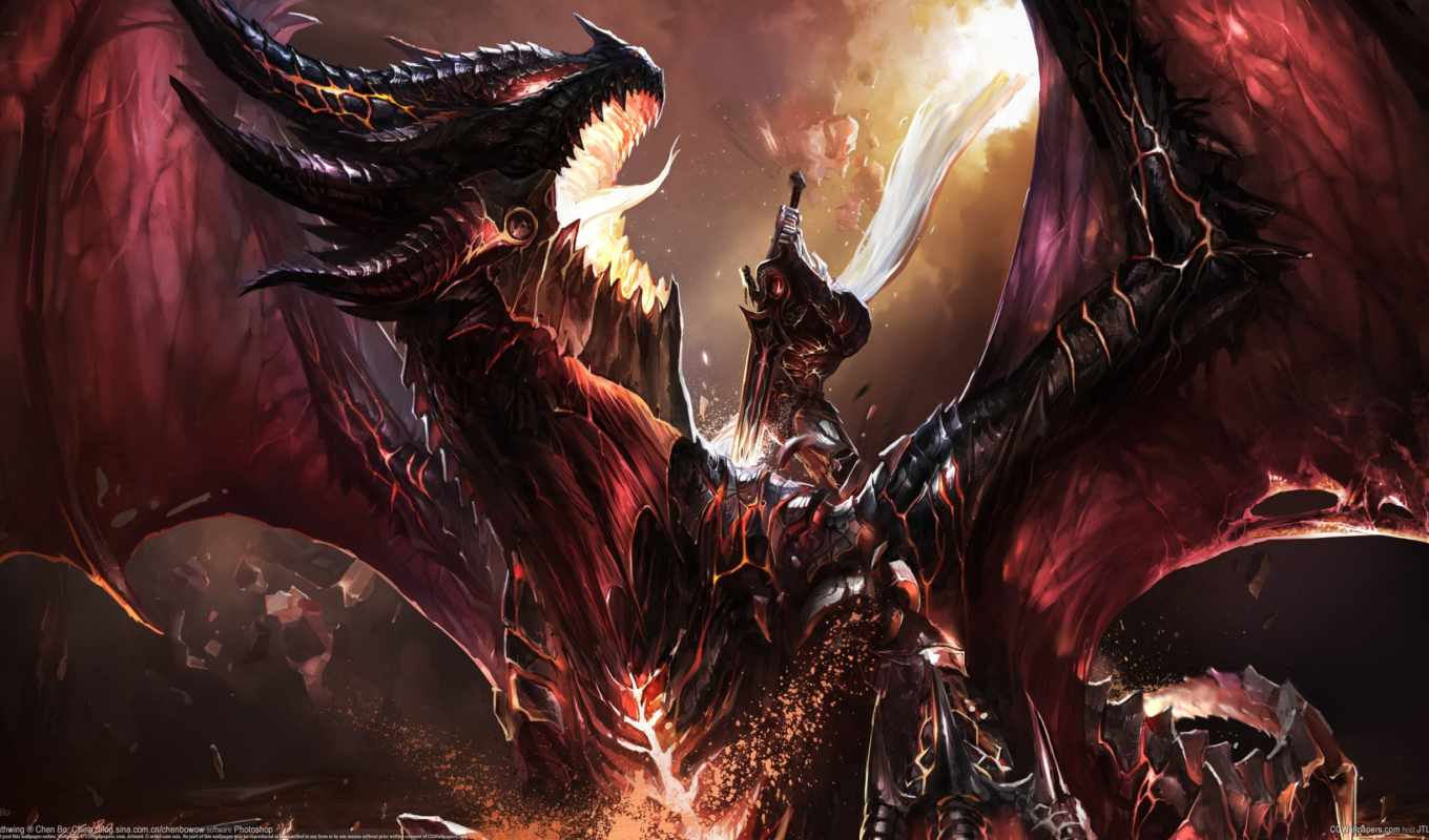 wow, world, warcraft, deathwing, fanart, kill, art, битва, chenbo, дракон,