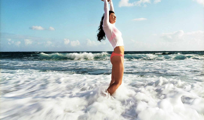 море, девушка, devushki, water, небо,