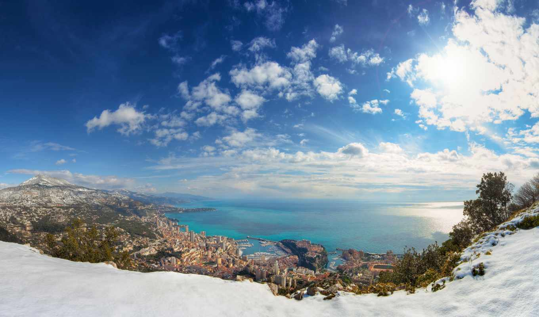 monaco, княжество, зимой, winter, горы, море, снег,