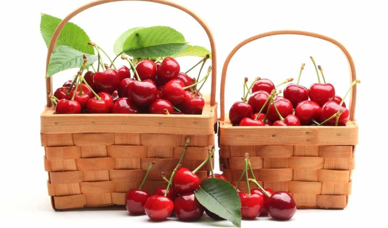 ягоды, черешня, красные, корзинки, корзина, спелый