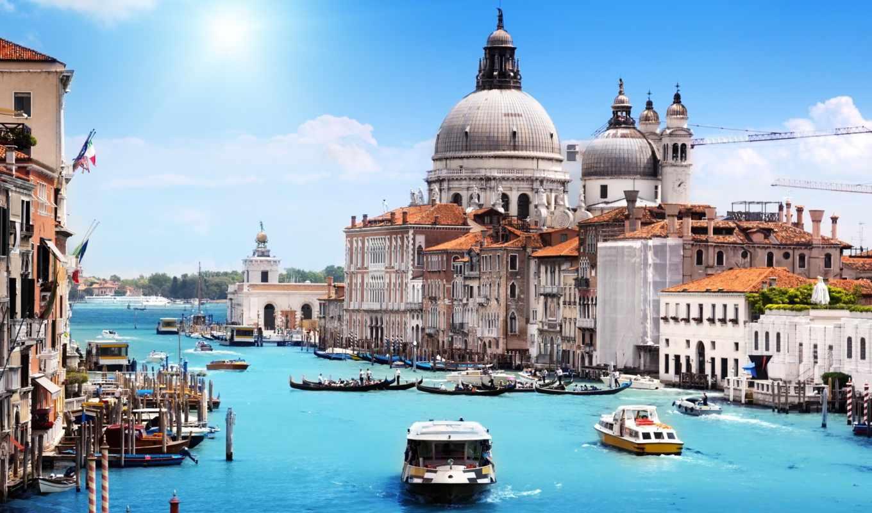 ,италия, канал,гандолы,здания,