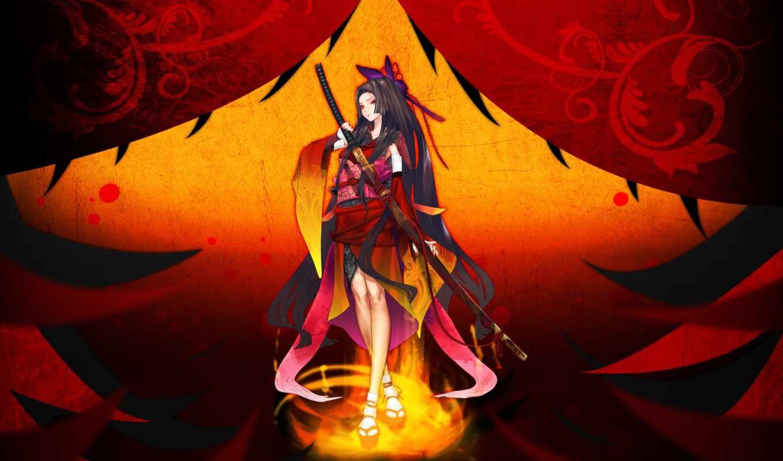 anime, art, девушка, катана, redjuice, resheph, оружие, меч, artwork,