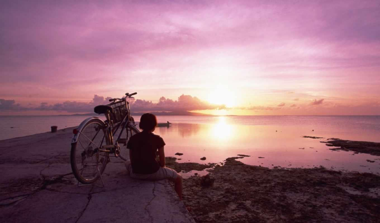 девушка, велосипед, закат, небо, велосипеде, смотреть, приехала, море,