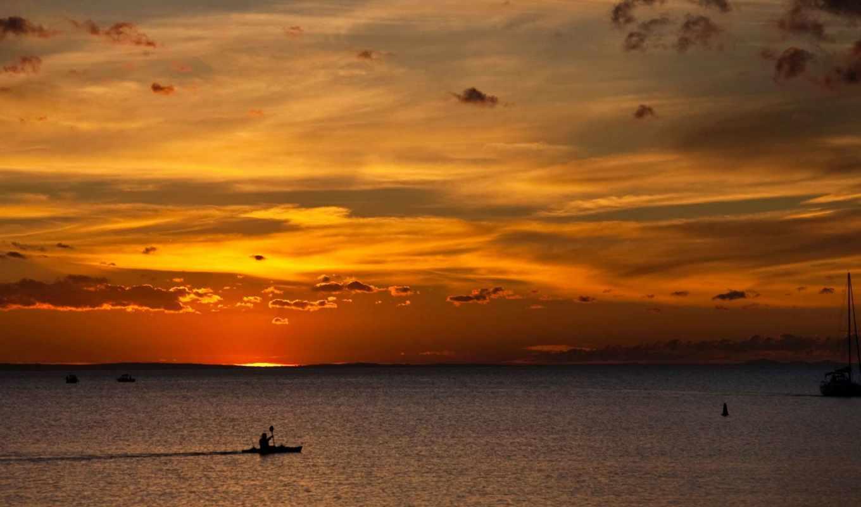 clouds, закат, rays, совершенн, sun, день, water, море,