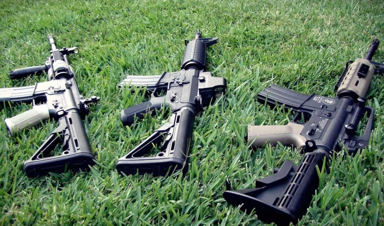 штурмовые, винтовки, автоматы, трава,