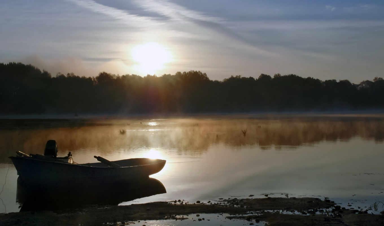 озеро, лодка, утро, туман, совершенно, природа, категория,