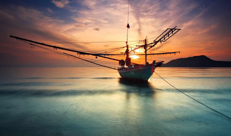 яхты, корабль, парусники, лодка, море, палуба, мачтовый, пейзажи -, небо, яхта,