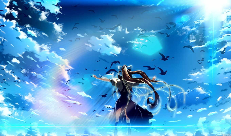 исудзу Камио, обои, anime, фото, девушка, неба, air, misu