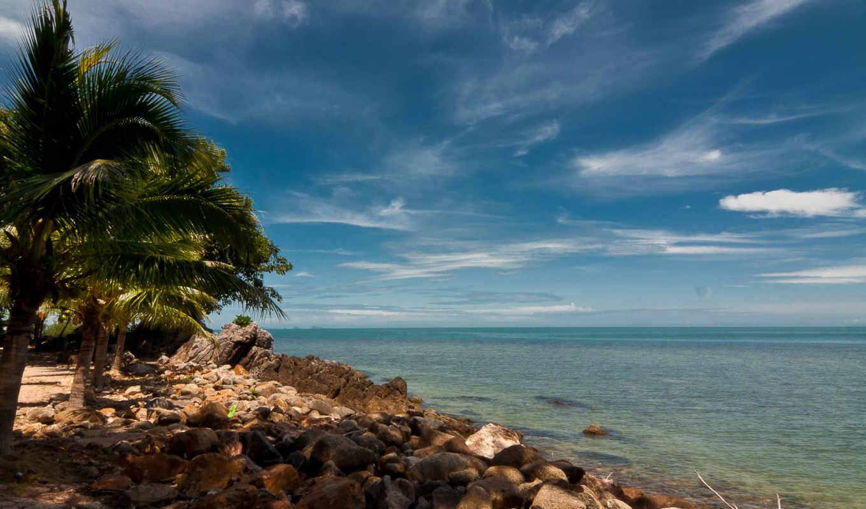 samui, ko, island, пляж, небо, океан, море, пальмы, камни, тайланд, download,
