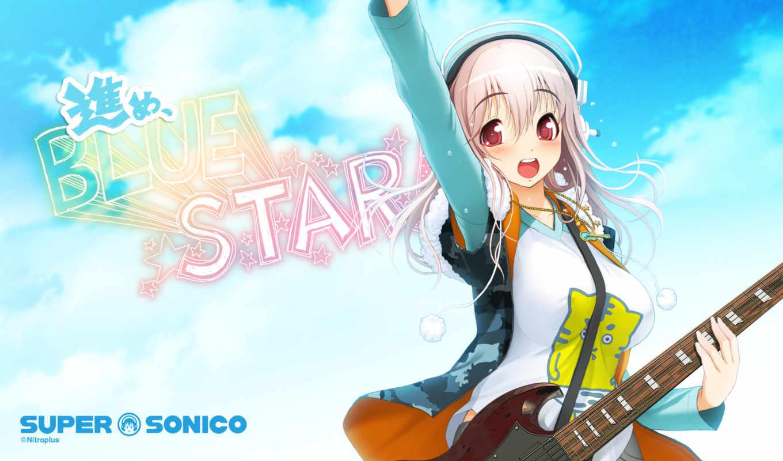 super, sonico, headphones, anime, guitar, hair, with, red, soniko, music, this, girl, eyes, pink, santa, tsuji, tag, desktop, like, ecchi, nitroplus,