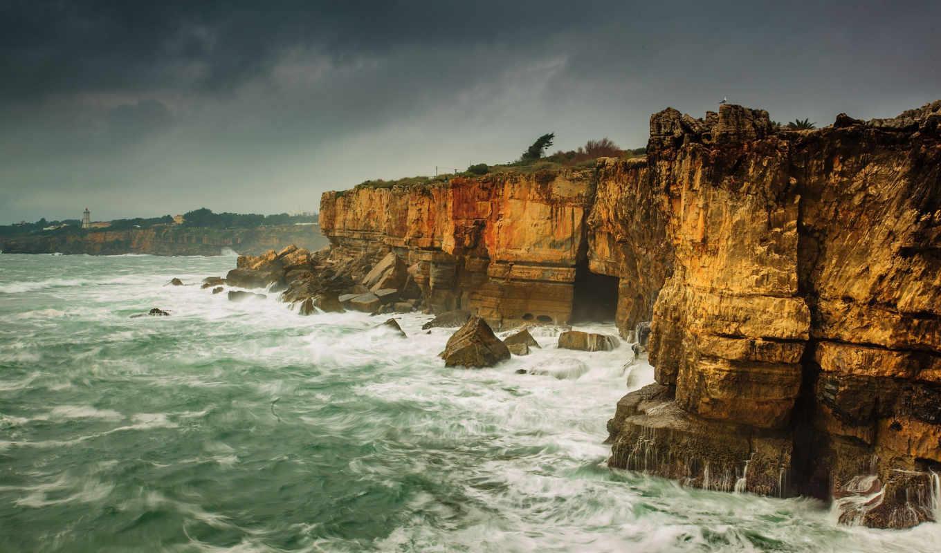 дениз, kıyısı, dalgalar, kayalıklar, manzara, природа, море,