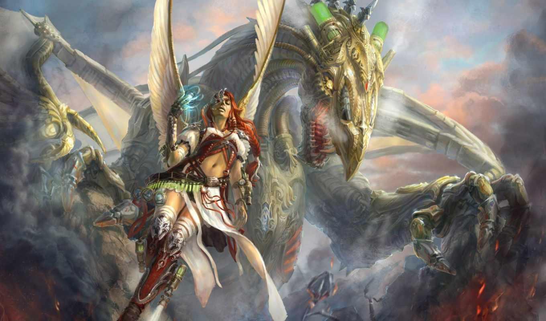 fantasy, art, дракон, стимпанк, девушка, магия, огонь,
