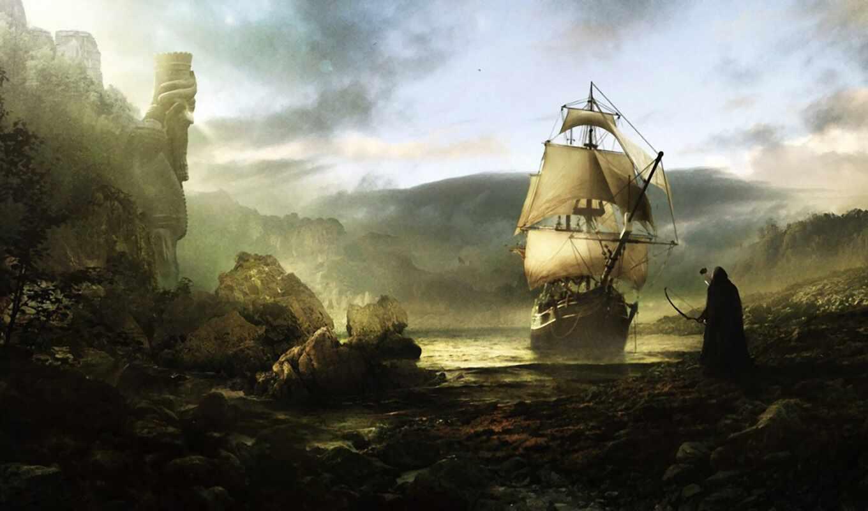 корабль, art, пиратский, usa