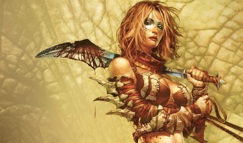 девушка, кровь, оружие, woman, warrior, бе, fantasy, coliseum, cage, обою, девушки, girls, выберите, правой, картинку, official, игры, game, города,