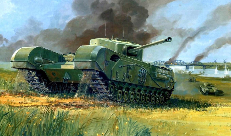 танк, мост, пехотный, черчилль, рисунок, война, танки, tanks,