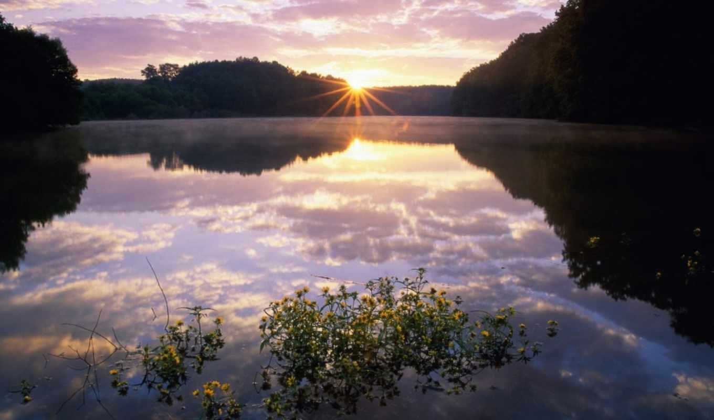 рассвет, со, озером, озере, закат,