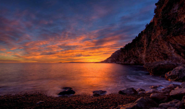 берег, закат, different, фон, багряного, моря, заката,