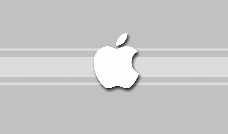 apple, белый, фон, серый, лого