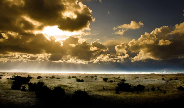 oblaka, небо, sun, кусты, очертания, land, свет, просмотров, природа,