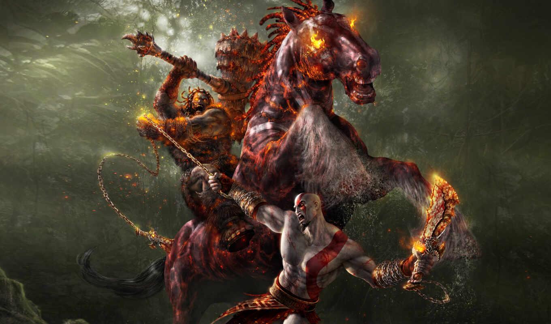 god, war, кратос, pack, всадником, desktop, лошади, windows, всадник, сражается, download, theme,