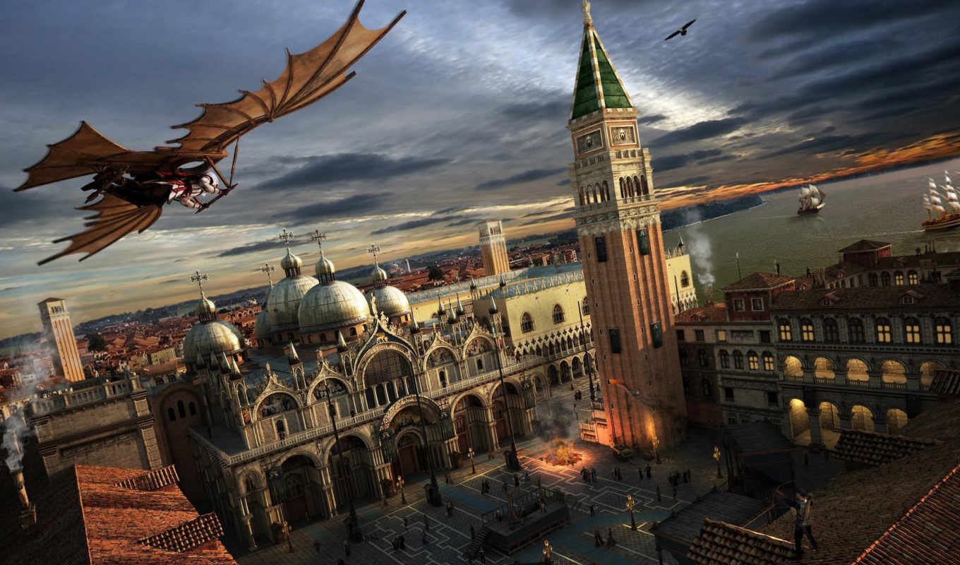 assassin, venezia, площадь, creed, картинка, venice, assassins, италия, город, games, gliding, ancient,