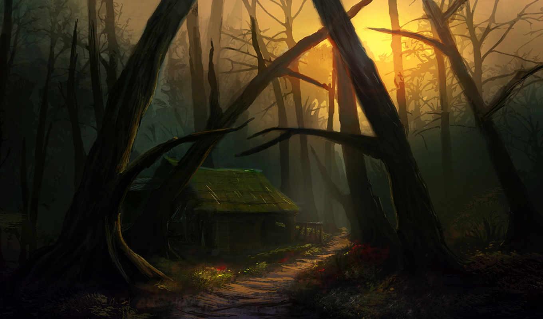 деревья, арт, картинка, картинок, фэнтези, дом, стоит, имеет, forest, горизонтали, picsfab, фабрика, дорожка, дверей, окон, избушка, курьих, ножках,