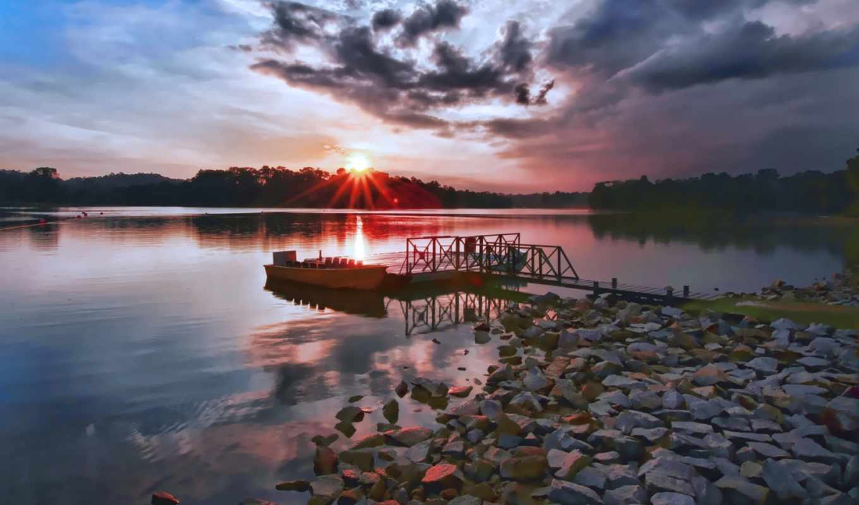 lake, sunset, over, desktop,