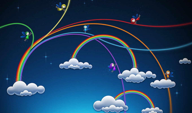облака, рисунок, радуга, эльфы,