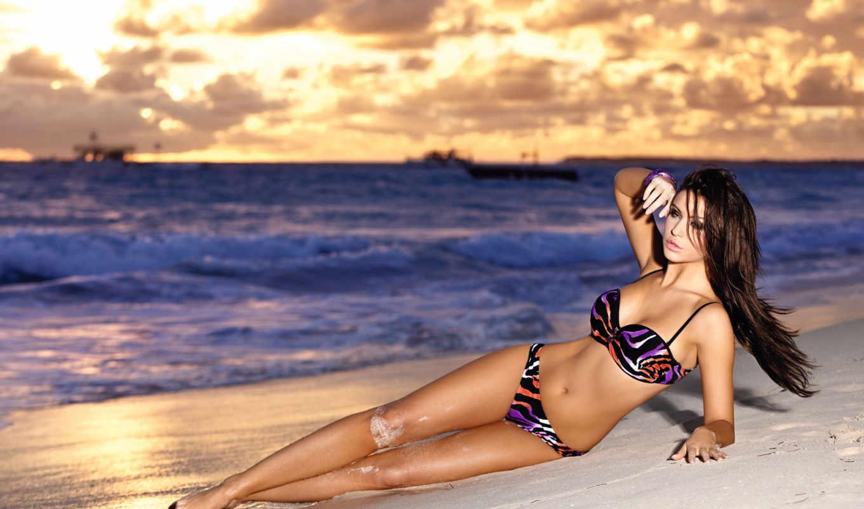 ocean, закат, пляж, волны, купальник, модель, pietrasinska, monika, девушка в купальнике,