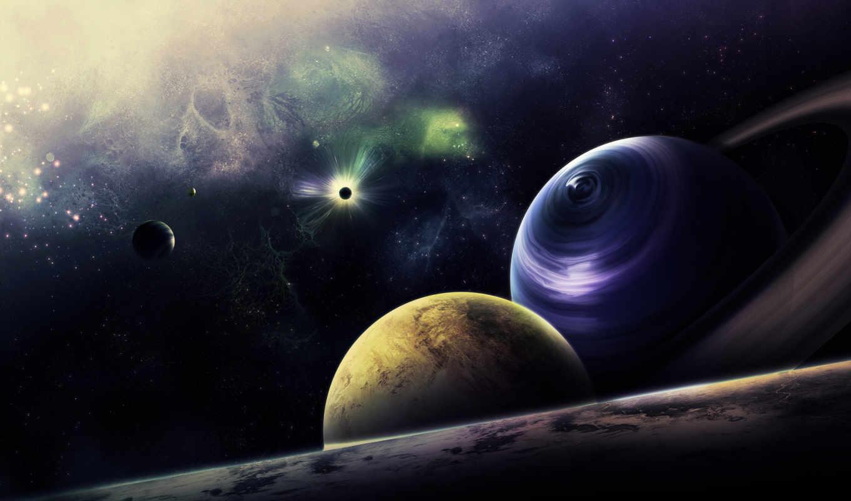 космос, звезды, планеты, кольца, без,