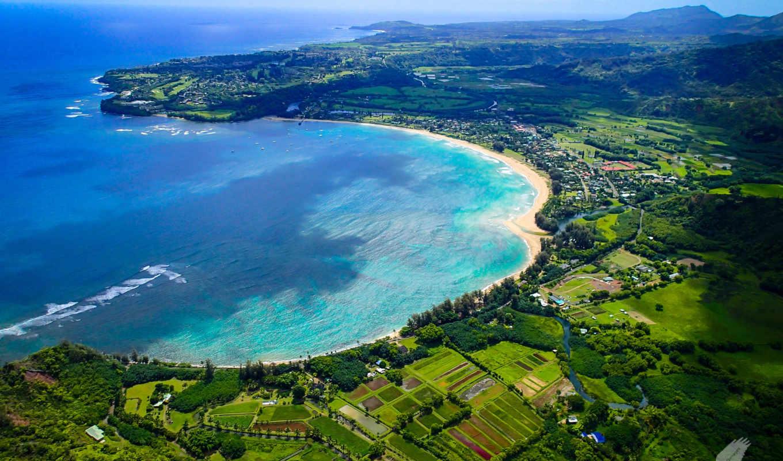 hawaii, остров, острова, небо, kauai, гавайские, hanalei, картинка, пляж, bay, ocean,
