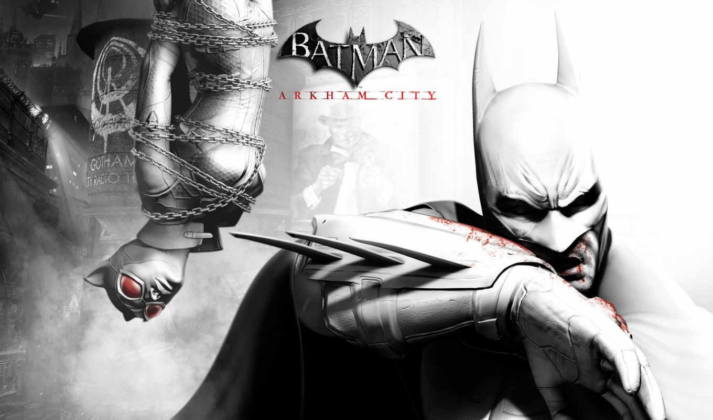 arkham, batman, женщина, игры, город, game, кот, широкоформатные, comics,