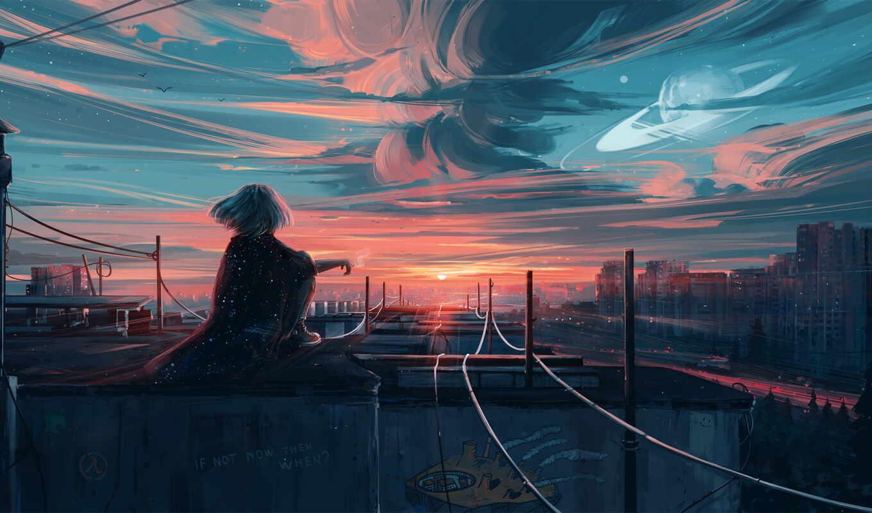 anime, ночь, закат, anim, sun, artist, день, scenery